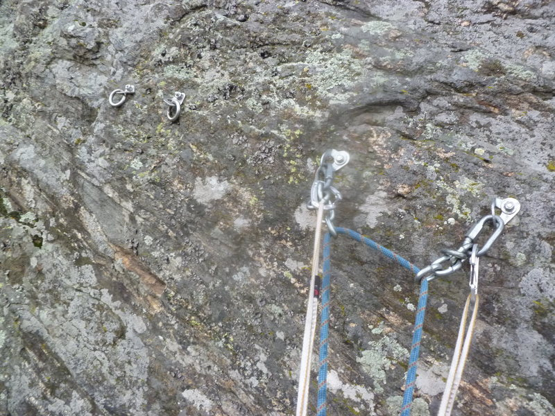 This route now has a separate anchor from the climb on the right.