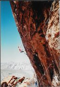 Rock Climbing Photo: Erik Gearhart redpointing, 4/95