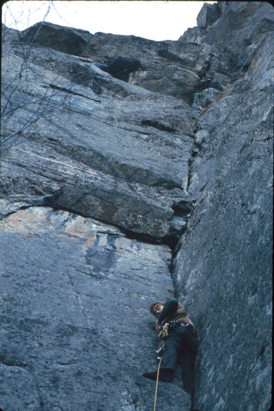 Tom J leads on Hesitation, May 1974, this time with hexentrics, stoppers & a few pitons. Healy's Guide rated it 5.7.