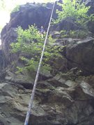 Rock Climbing Photo: James at the top of his newly claimed route.