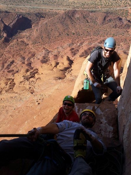 Team shot with Dustin Clelen, Barb Anderson, and me. Taken by Mycroft Smith. P3 belay?