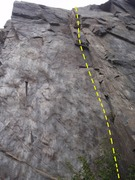 Rock Climbing Photo: Follow the bolts up then cut right on the slab to ...