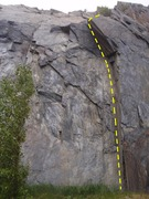 Rock Climbing Photo: Jaws of Chrud starts up the dihedral under the lar...