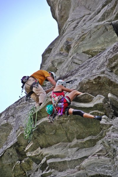 pulling the crux right below the anchors of the first pitch