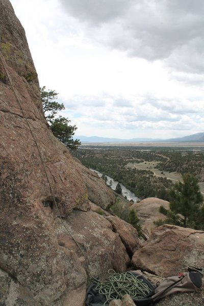 This is where you belay from. This view is looking south.