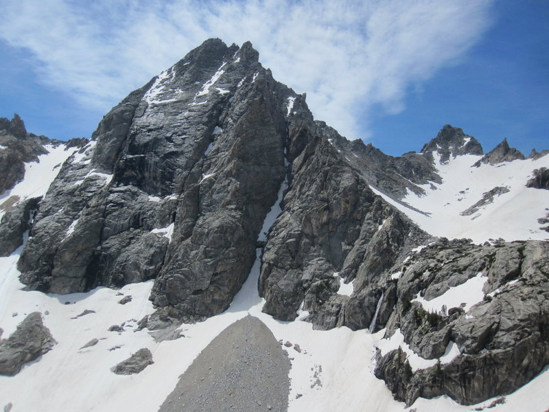 Mount Wister in early July. Veiled peak can be seen in the background to the right.