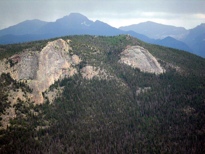 Deer Mountain Buttress, Rainbow Rock, and a small crag above Deer Mountain Buttress.