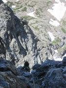 Rock Climbing Photo: Greg finishing up the 5.10 crack on Pitch 8