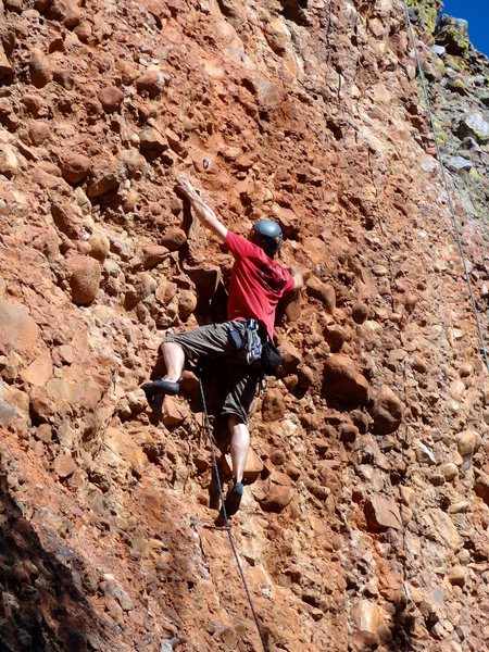 Moving into the steep crux section. August 2013.