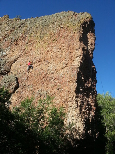 Late afternoon night as Walt climbs Busted by Dewey. August 2013.