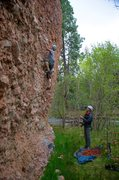 Rock Climbing Photo: Getting started on the route. May 2014. In the spr...