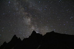 Rock Climbing Photo: stars above Warbonnet and Warrior I from the meado...