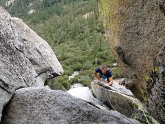 Rock Climbing Photo: tomas getting psyched on pitch three