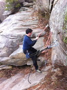 Rock Climbing Photo: this shows the steel cable, rap rings and the bolt...