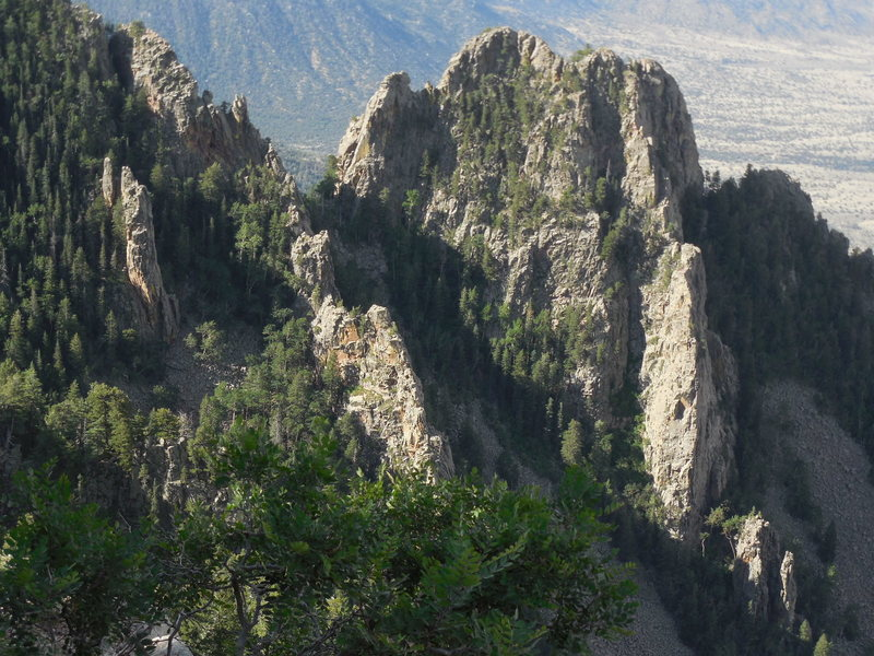 Rock Climbing Photo: Paired Pole Pillars (left) from the Crest Spur ove...