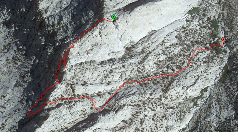 """Took us a while before we found the right descent gully, we definitely went up 3 wrong towers before finding the """"green one"""" as described in the book. Look for a big boulder on top. Seemed further than 1/4 mile"""