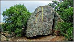 Rock Climbing Photo: Domestic Bliss problem beta in yellow.