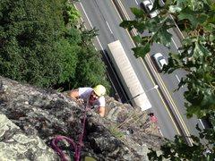 Rock Climbing Photo: Steve following p2