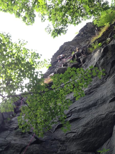 Steve leading. Route goes left over roof at horn.