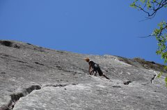 """Rock Climbing Photo: At the anchors of the first pitch of the """"aid..."""