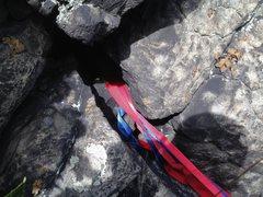 Rock Climbing Photo: Chockstone rap station above JG