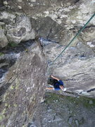 Rock Climbing Photo: P.Ross coming up P1 .Photo Andy Ross