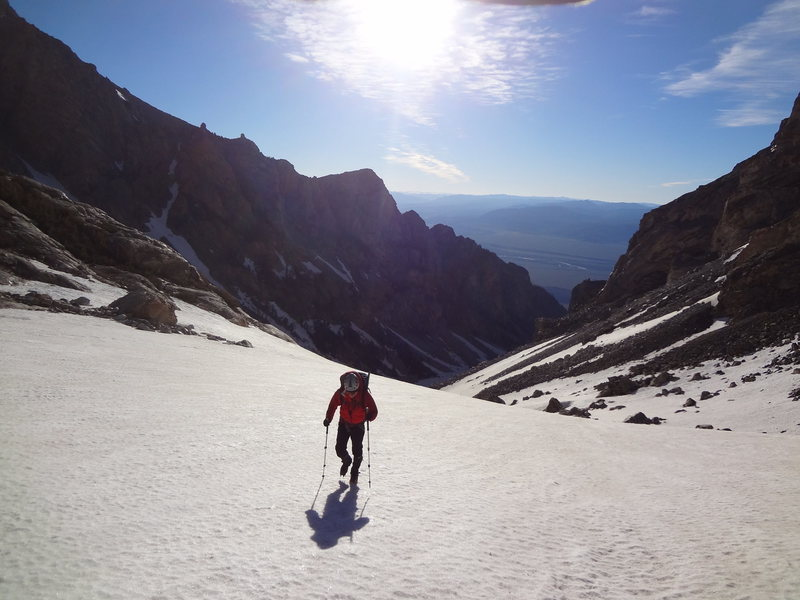 Dan on way up to Middle Teton via southwest couloir. July 2014