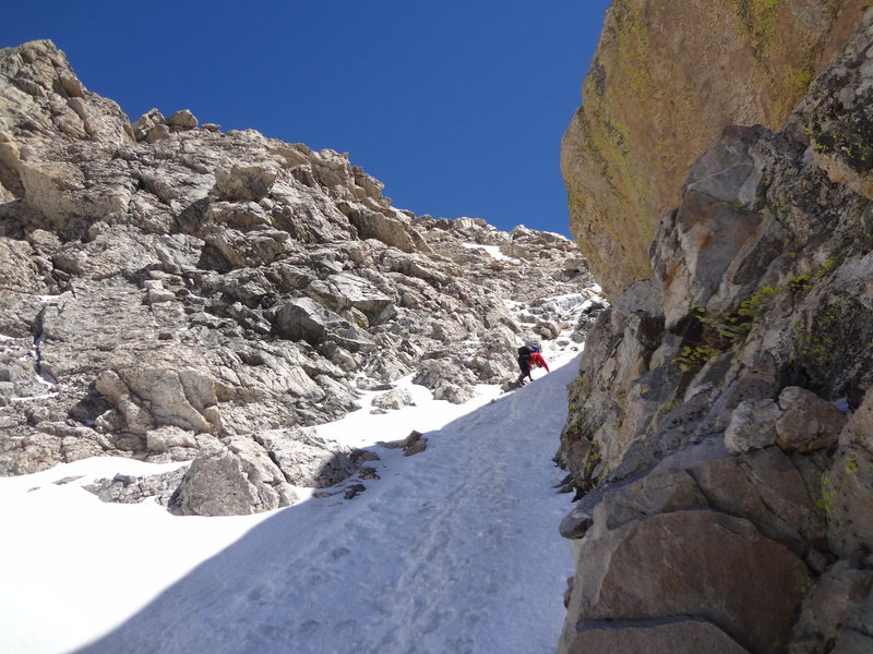 Rock Climbing Photo: Dan on way up to Middle Teton via southwest couloi...