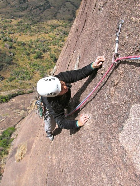 Shirley topping out on pitch 8 of Alien.  Fun, well-protected climbing (Sept. 2011).