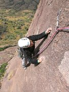 Rock Climbing Photo: Shirley topping out on pitch 8 of Alien.  Fun, wel...