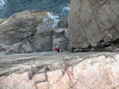 Rock Climbing Photo: Looking down Wonder Wall at low tide
