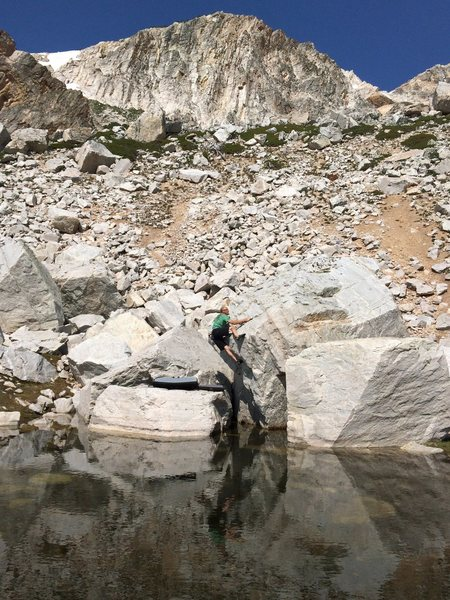 Somewhere in the Snowy Range Wyoming, Ray Weber boulders on his birthday.
