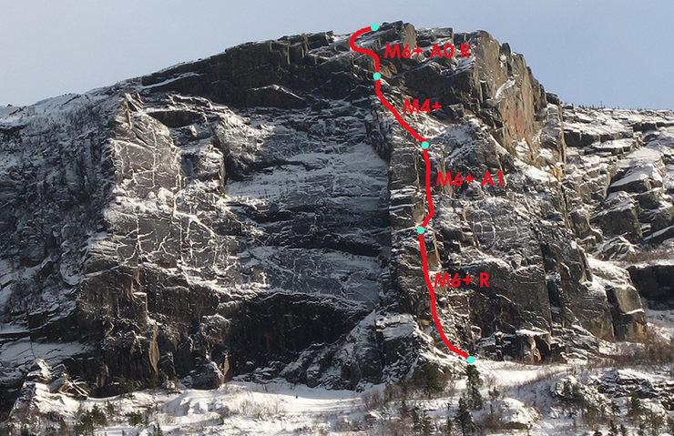 Voici une image prise sur EscaladeQuebec avec un parcours approximatif de la première hivernal de Sens Unique.