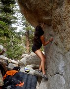 Rock Climbing Photo: JT 6 1/2 months pregnant working the start.