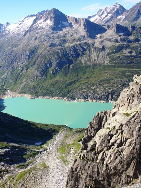 View to the north from Feldschijen, with the Goescheneralp reservoir below and Bergsee on the other side
