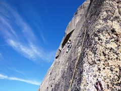 Rock Climbing Photo: Pitch six, with the splitter hand crack of pitch 8...