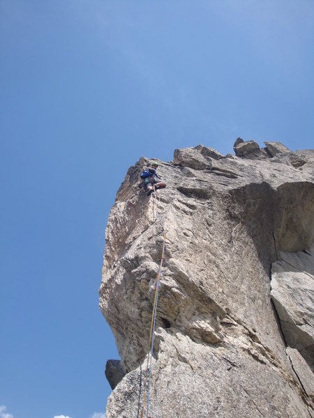 Pitch 12, crux of the route