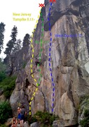 Rock Climbing Photo: My understanding of the routes on the main wall