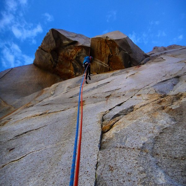 Rock Climbing Photo: Lowering over the roof on the first airy rappel of...