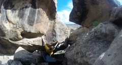 Rock Climbing Photo: Just after the first few moves, setting up for the...