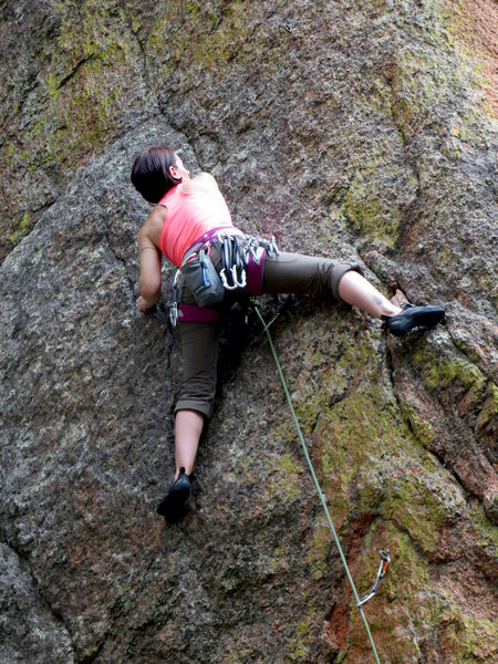 Rock Climbing Photo: On the crystal pinching section of Rock Nazi befor...