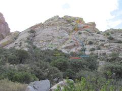 Rock Climbing Photo: Rabbit Ears Slabs as seen from approach.