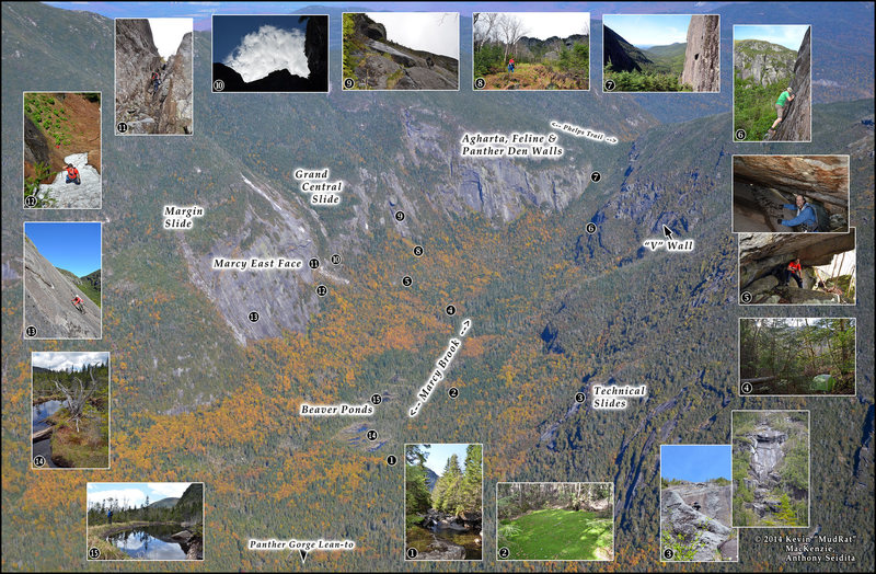 Rock Climbing Photo: Aerial view of Panther Gorge with key areas.