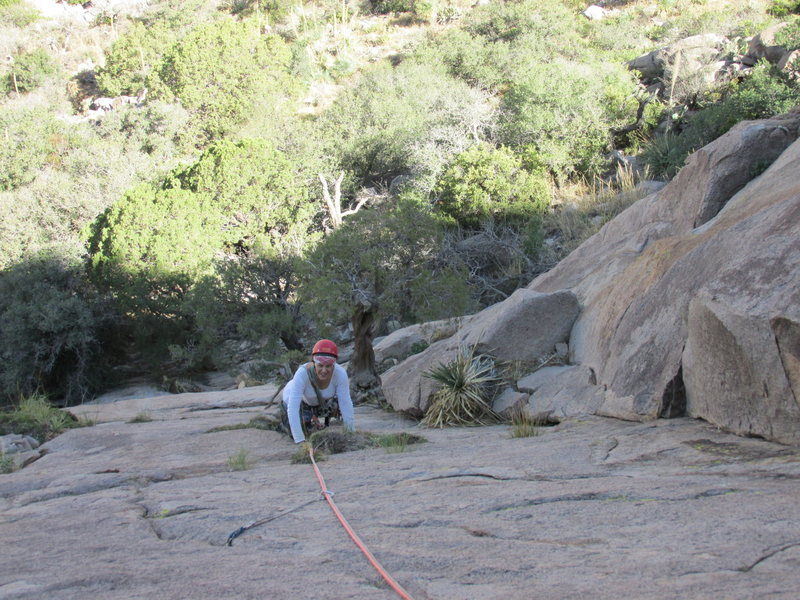 Rock Climbing Photo: Amy Harvey coming up Pitch 1. The small tree just ...