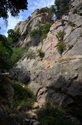 Rock Climbing Photo: Route topo for Labrador Cupcakes, in Rattlesnake C...