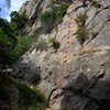 Route topo for Labrador Cupcakes, in Rattlesnake Canyon.