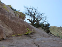 Rock Climbing Photo: Pitch 1 belay is just to the right of the roof. Be...