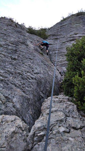 Robin half way up the climb