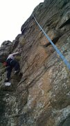 Rock Climbing Photo: Connor going up the easy way on the crack to the l...