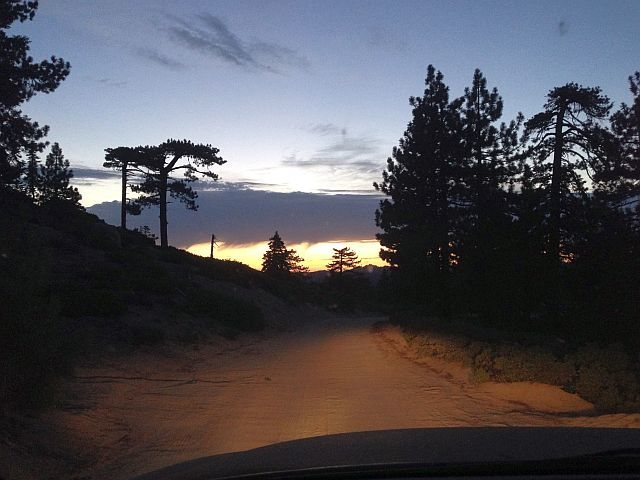 Skyline Trail (2N10) at sunset, Big Bear South